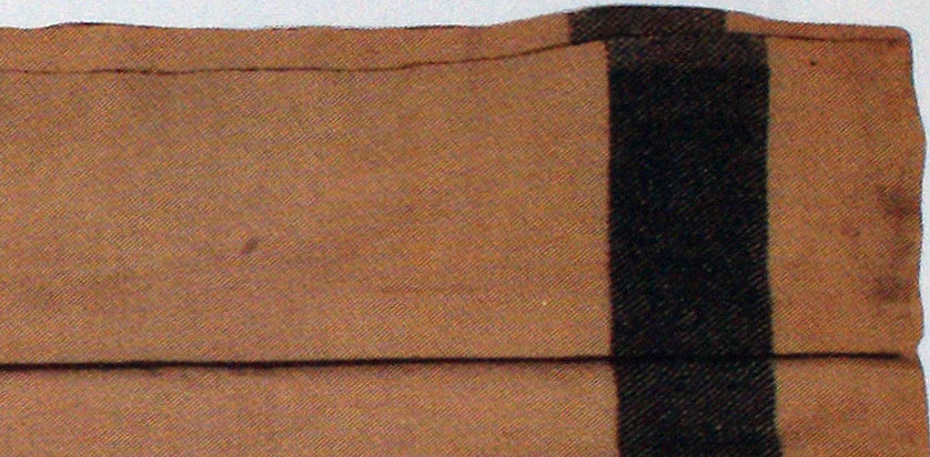 USN Issue Blanket from the USS Cumberland - Detail of weave, stripe and selvage
